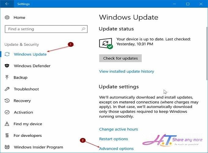 hạn chế băng thông khi Windows 10 cập nhật bản vá