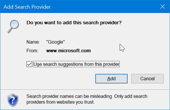 Cách đặt Google Search làm công cụ tìm kiếm mặc định trong IE 11 4