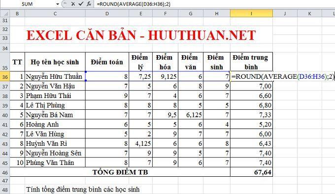 Excel căn bản: Sử dụng hàm Round làm tròn số trong Excel 2