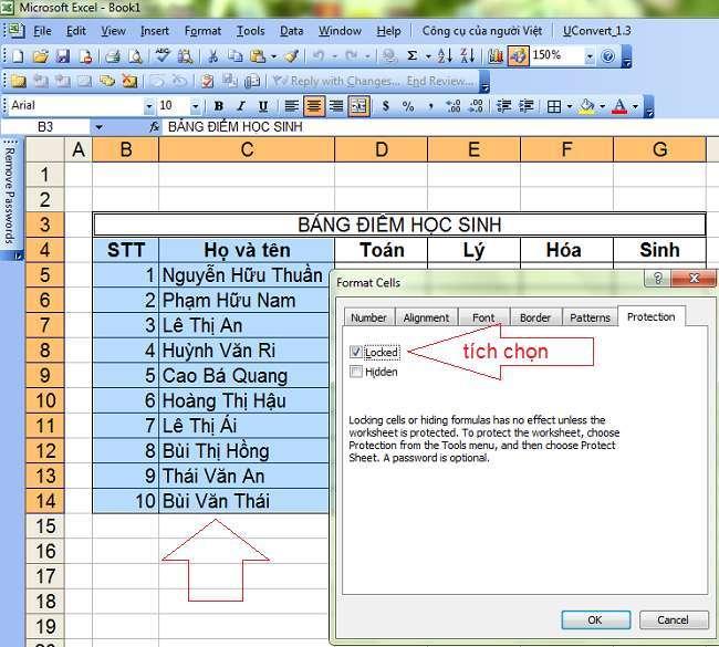 Cách khóa một vùng dữ liệu hoặc ô dữ liệu trong Excel đơn giản 1