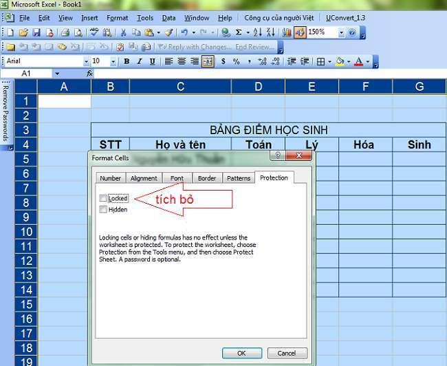 khóa một vùng dữ liệu hoặc ô dữ liệu trong Excel