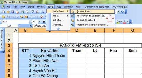 Cách khóa một vùng dữ liệu hoặc ô dữ liệu trong Excel đơn giản 2