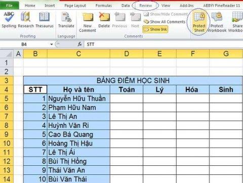 Cách khóa một vùng dữ liệu hoặc ô dữ liệu trong Excel đơn giản 5