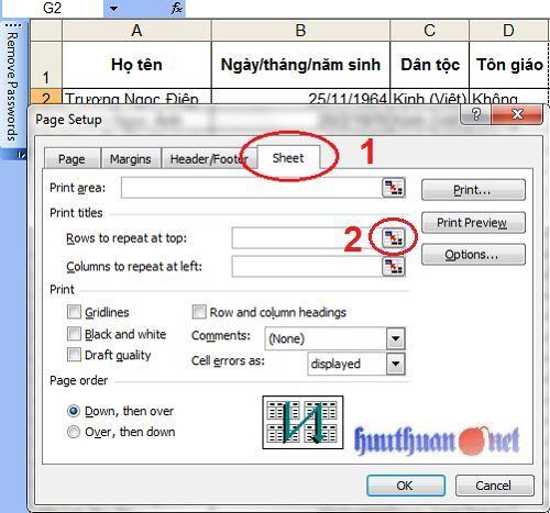 lặp lại tiêu đề khi in trong Microsoft Excel đơn giản