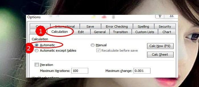 Cách sửa lỗi công thức Excel không tính toán và tự động cập nhật 3