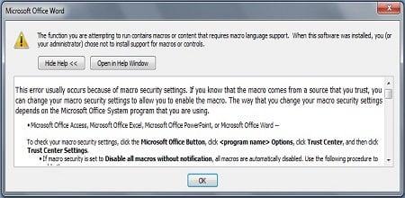 Cách khắc phục lỗi macro security setting trong word 2007