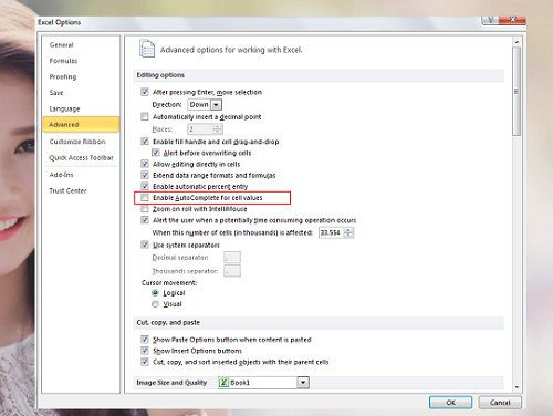 Tùy chỉnh Microsoft Excel