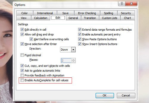 """Tích bỏ thuộc tính """"Enable AutoComplete for cell values"""""""