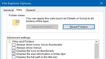 phương pháp truy cập vào Folder Options trên Windows 10