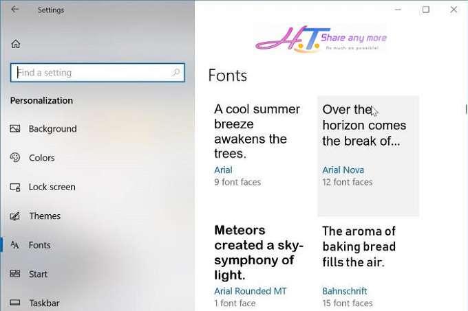 Cách cài đặt phông chữ mới trên cửa hàng Windows Store 10 8