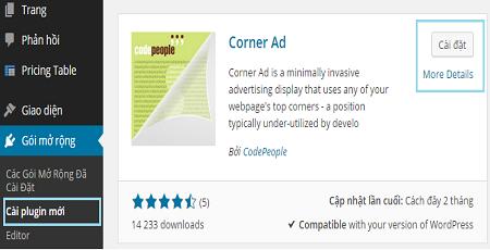 Cách hiển thị quảng cáo góc trên cùng của trang wordpress