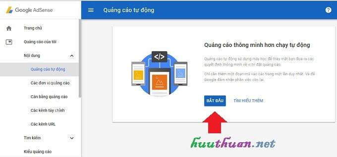 Kích hoạt tính năng tự động phân phối quảng cáo trong Google Adsense