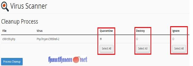 Sử dụng công cụ tìm kiếm mã độc từ hosting cPanel 5