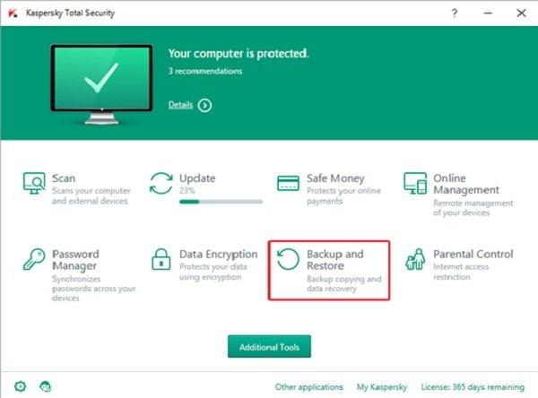 Cách sao lưu dữ liệu an toàn với Kaspersky Total Security
