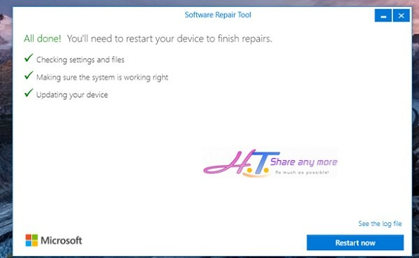 Cách sử dụng công cụ Software Repair Tool để sửa lỗi Windows 10 7