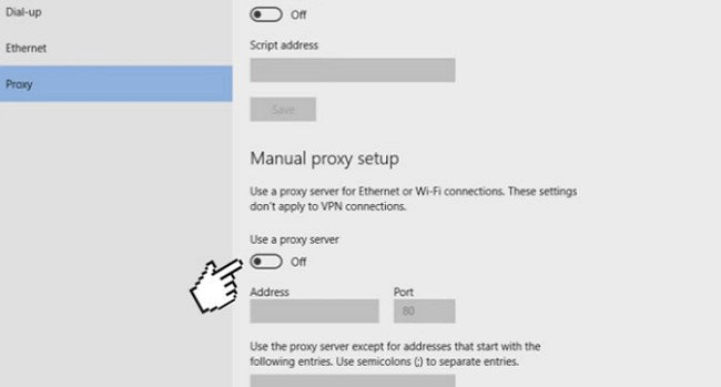 "khắc phục lỗi ""Can't Connect to Proxy Server"" trên Windows 10"