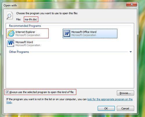 sửa lỗi tất cả các tập tin mở bằng một ứng dụng khác