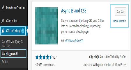 Cải thiện tốc độ tải trang với Plugin Async JS and CSS