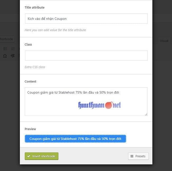 Cách tạo button nhận Coupon bằng plugin Shortcodes Ultimate 3