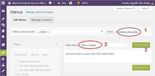 tạo icon cho các chuyên mục hiển thị trên Widget