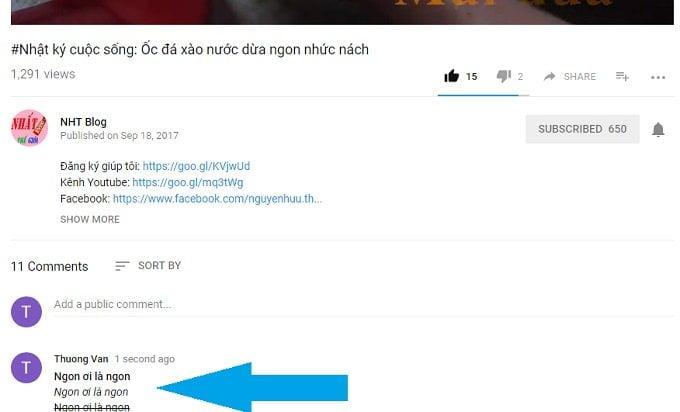 Cách thay đổi định dạng kiểu chữ khi viết bình luận trong Youtube