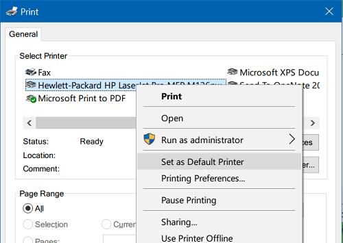 Thay đổi máy in mặc định trong Windows 10 đơn giản
