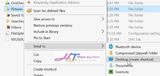 Thêm thư mục, ứng dụng vào thuộc tính Send to trong Windows 10