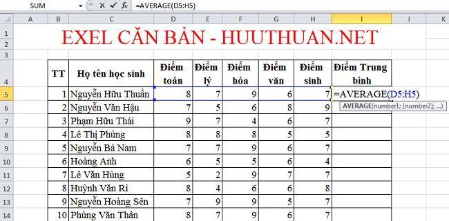 Tính giá trị trung bình trong Excel đơn giản