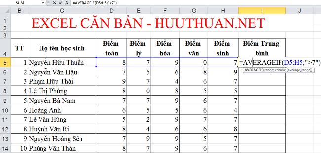 Tính giá trị trung bình có điều kiện trong Excel