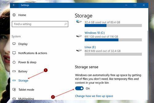tự động giải phóng không gian đĩa cứng trên Windows 10