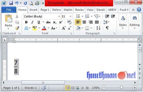 Cách viết phân số trong Microsoft Word đơn giản nhất 2