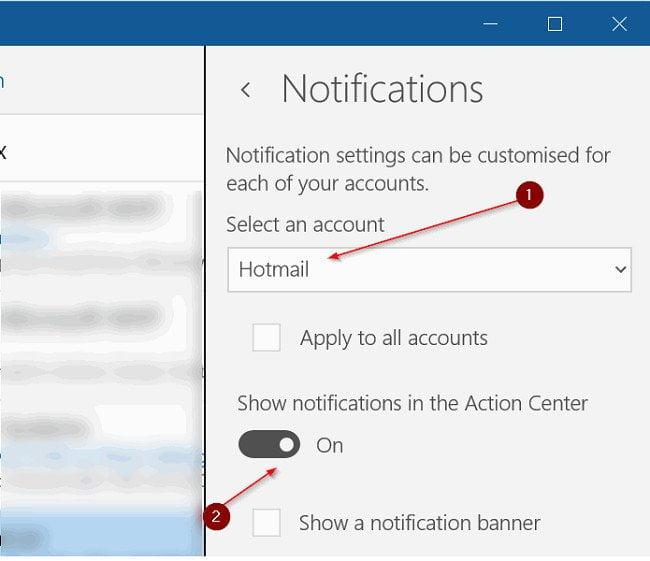 Cách bật/tắt thông báo Email trong Windows 10 Action Center 4