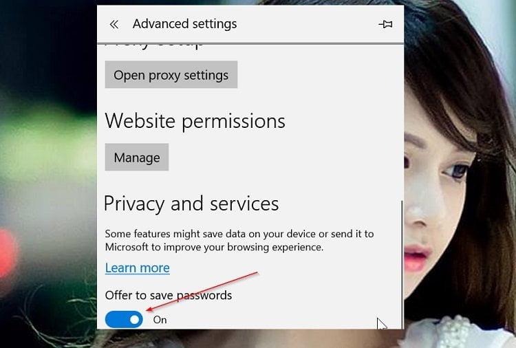 Cách vô hiệu thông báo lưu mật khẩu và thông tin thẻ tín dụng trong Edge 3