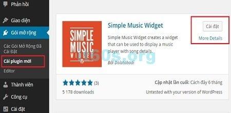 Hiển thị nhạc trên widget chuyên nghiệp dành cho wordpress