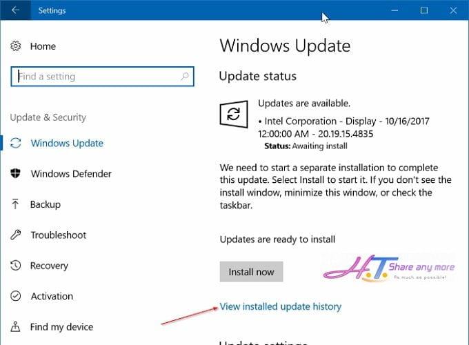 Cách xem các bản cập nhật mới nhất trong Windows 10